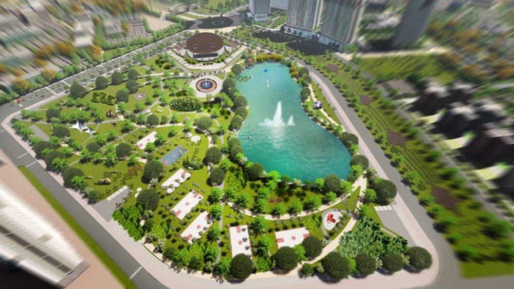 Dự án Công viên Hồ điều hoà liền kề chung cư Mỹ Đình Pearl đã bắt đầu khởi công xây dựng